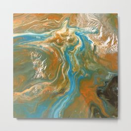 Orange Blue Green Pour Painting Metal Print