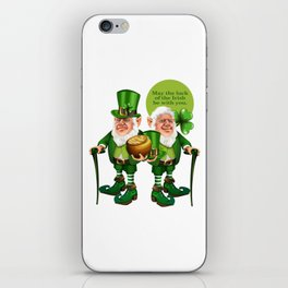 Two Leprechaun Pot of Gold - May the luck of the Irishbe with you St.Patrick Day Shirt iPhone Skin