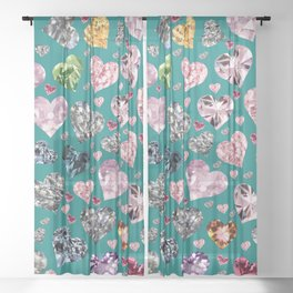Heart Diamonds are Forever Love Teal Sheer Curtain