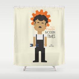 "Charlie Chaplin ""Modern Times"" movie poster, fine Art print, classic film with Paulette Goddard Shower Curtain"