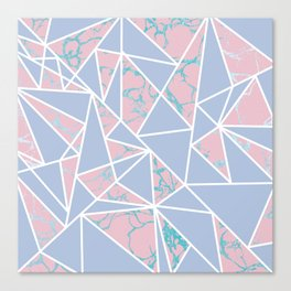 Geometric pastel blue coral abstract triangles marble Canvas Print