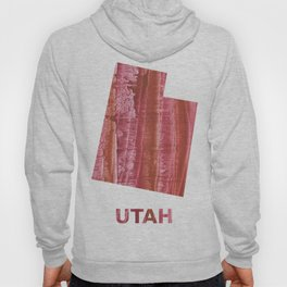 Utah map outline Indian red stained wash drawing Hoody