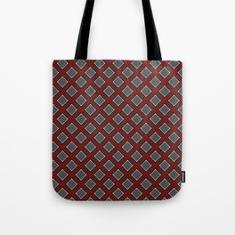 Red lattice pattern on grey with white accents Tote Bag
