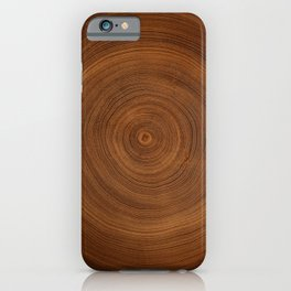 Detailed rich dark brown wood tree with circle growth rings pattern iPhone Case
