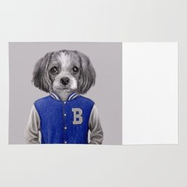 dog boy portrait Rug