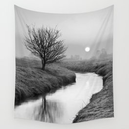 Misty Sunrise On The River Wall Tapestry