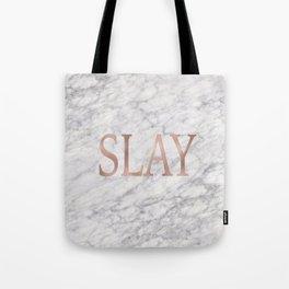 Slay rose gold marble Tote Bag