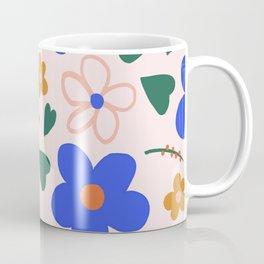 Kids Multi Color Floral in Bright Blue Pink and Gold Coffee Mug