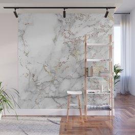 Champagne Rose Gold Blush Metallic Glitter Foil On Gray Marble Wall Mural
