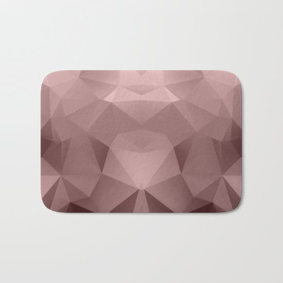 Abstract geometric polygonal pattern in grey and pink tones . Bath Mat