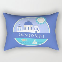 Santorini Greece Badge Rectangular Pillow
