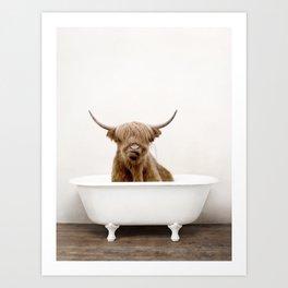 Highland Cow in a Vintage Bathtub (c) Art Print