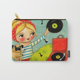 Record Player and Pug Carry-All Pouch