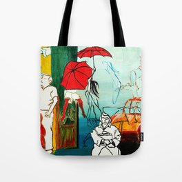 Composition Painting - Umbrella girl with woman Tote Bag