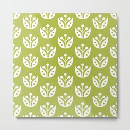 Mid Century Modern Abstract Flower Pattern 821 Olive Green Metal Print