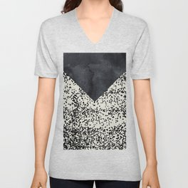 Black ivory confetti watercolor geometrical Unisex V-Neck