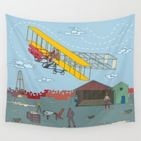 aviation Wall Tapestries featuring First Flight 1903 by Magnetic Boys