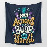 risa rodil Wall Tapestries featuring Build Our World by Risa Rodil