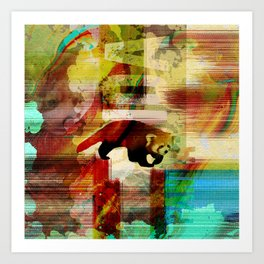 Red Panda Abstract  mixed media art collage Art Print