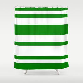 Mixed Horizontal Stripes - White and Green Shower Curtain