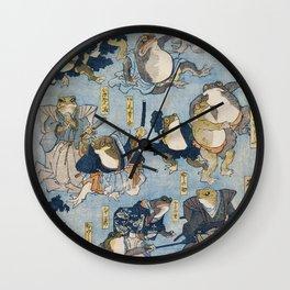 Famous Heroes of the Kabuki Stage Played by Frogs by Utagawa Kuniyoshi. Japaneses fine art. Wall Clock