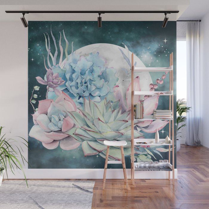 Beautiful Succulents Full Moon Teal Pink Wall Mural
