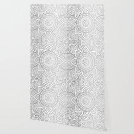 Silver Mandala Pattern Illustration Wallpaper