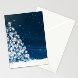 Blue Christmas Eve Snowflakes Winter Holiday Stationery Cards