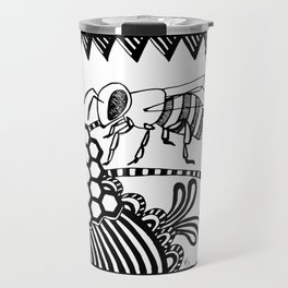 Bee black and white doodle drawing Travel Mug