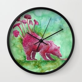 Beer Drinking Bear | Surrealistic Art, Watercolor Painting Wall Clock
