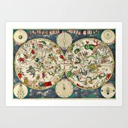 Antique Celestial Sky Map Art Print