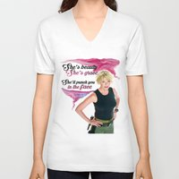 stargate V-neck T-shirts featuring She's Beauty, She's Grace, She'll Punch You In The Face by nubbinsammy