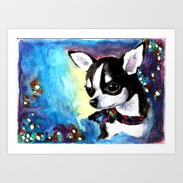 Little Dog Space Portrait 1 Art Print