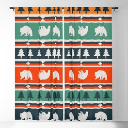Winter bears and trees Blackout Curtain