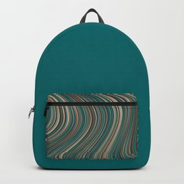 MANITOULIN forest colours of aquamarine green and brown in abstract waves design Backpack