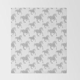 White Horse Pattern Throw Blanket