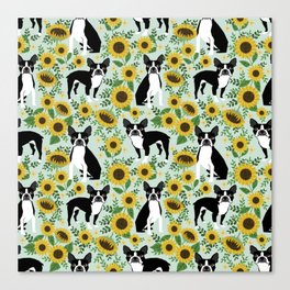 Boston Terrier sunflower floral dog breed pet portrait pet friendly pattern dogs gifts Canvas Print