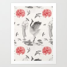 Crane, Swallow, Frog Art Print
