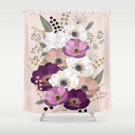 Anemones & Gardenia floral bouquet Shower Curtain