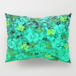 LUCK OF THE IRISH Colorful Emerald Green Ombre St Patricks Day Floral Shamrock Four Leaf Clover Art Pillow Sham