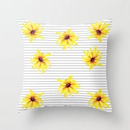 Yellow Daises on Minimal Black and White Stripes Throw Pillow