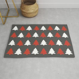 White and red Christmas trees Rug