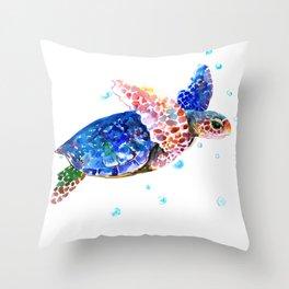 Sea Turtle, blue rainbow Throw Pillow