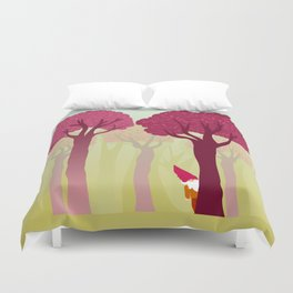 colorful forest with cute dwarf Duvet Cover