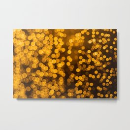 Gold Bokeh Lights Metal Print