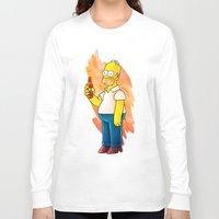 homer Long Sleeve T-shirts featuring Homer & Duff by Lukas Stobie