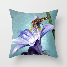 Wasp on flower 11 Throw Pillow