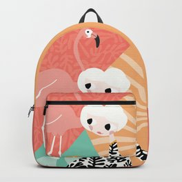 Girl with flamingo and Henri Matisse inspired decoration, vector illustration, geometric Backpack
