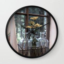 Bottled Flowers Wall Clock
