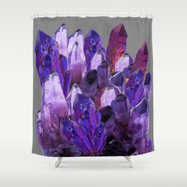 PURPLE AMETHYST CRYSTALS GREY ART Shower Curtain